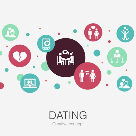 Dating trendy circle template with simple icons. Contains such elements as couple in love, fall in love, dating app, relations Illusztráció