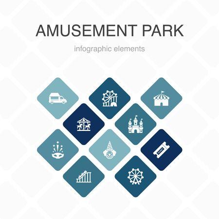 amusement park Infographic 10 option color design.Ferris wheel, Carousel, Roller coaster, carnival simple icons  イラスト・ベクター素材