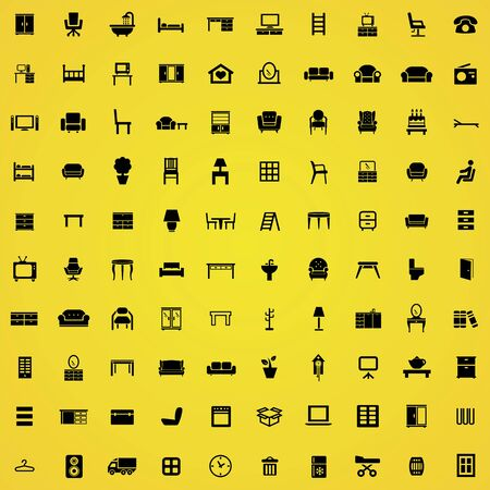 furniture 100 icons universal set for web and mobile.  イラスト・ベクター素材