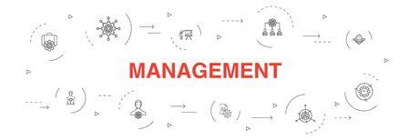 management Infographic 10 steps circle design.manager, control, organization, presentation simple icons Ilustração