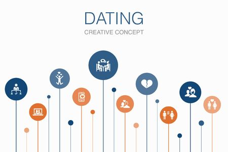 Dating Infographic 10 steps template. couple in love, fall in love, dating app, relations icons