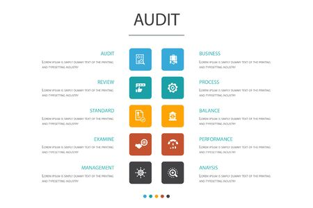 audit Infographic 10 option concept.review, standard, examine, process icons