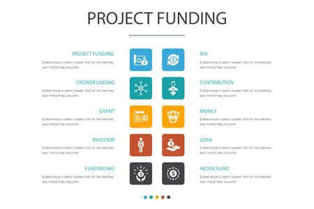 project funding Infographic 10 option concept. crowdfunding, grant, fundraising, contribution icons
