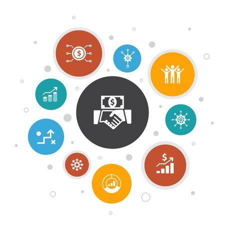 Investment Infographic 10 steps pixel design.profit, asset, market, success icons 일러스트