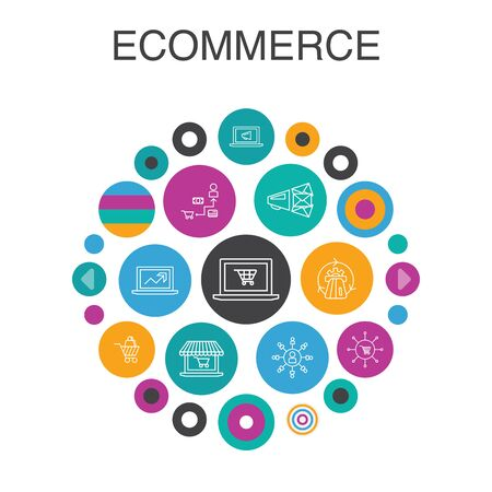 eCommerce Infographic circle concept. Smart UI elements online store, shopping cart, Payment Processor, eCommerce solutions simple icons