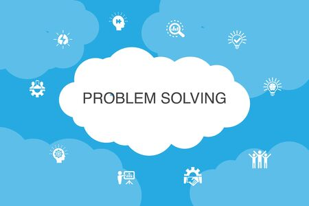 problem solving Infographic cloud design template. analysis, idea, brainstorming, teamwork icons