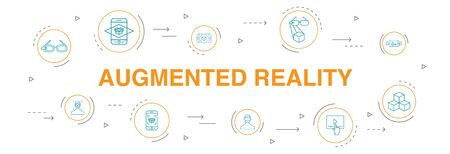 Augmented reality Infographic 10 steps circle design.Facial Recognition, AR app, AR game, Virtual Reality simple icons