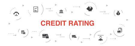 Bonitätsbewertung Infografik 10 Schritte Kreisdesign.Kreditrisiko, Kreditwürdigkeit, Insolvenz, Jährlich