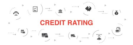 credit rating Infographic 10 steps circle design.Credit risk, Credit score, Bankruptcy, Annual