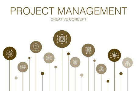 Project management Infographic 10 steps template. Project presentation, Meeting, workflow, Risk management simple icons