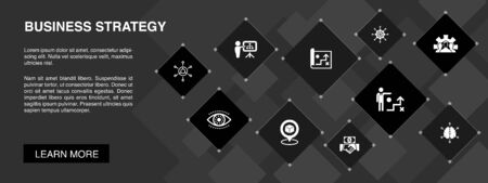 Business strategy banner 10 icons concept. planning, business model, vision, development icons