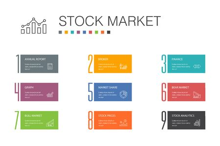 Stock market Infographic 10 option line concept.Broker, finance, graph, market share icons
