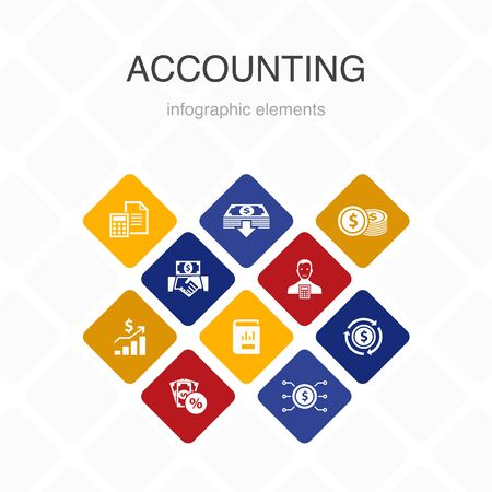 Buchhaltungs-Infografik 10-Optionsfarbdesign. Vermögenswert, Jahresbericht, Nettoeinkommen, einfache Symbole für Buchhalter Vektorgrafik