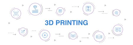 3d printing Infographic 10 steps circle design.3d printer, filament, prototyping, model preparation simple icons