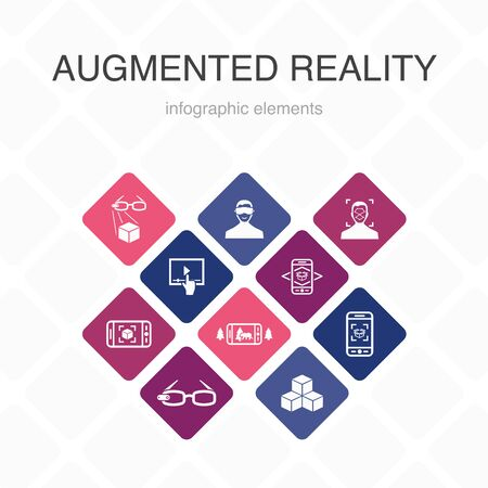 Augmented reality Infographic 10 option color design.Facial Recognition, AR app, AR game, Virtual Reality simple icons