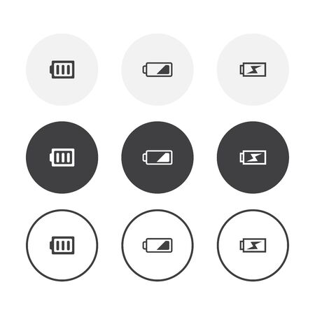 Set of 3 simple design battery icons. Rounded background battery collection