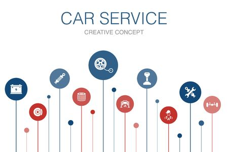 Car service Infographic 10 steps template. disk brake, suspension, spare parts, Transmission icons