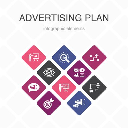 Advertising Plan Infographic 10 option color design.marketing, strategy, planning, target simple icons
