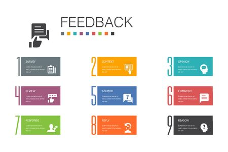 feedback Infographic 10 option line concept.survey, opinion, comment, response simple icons
