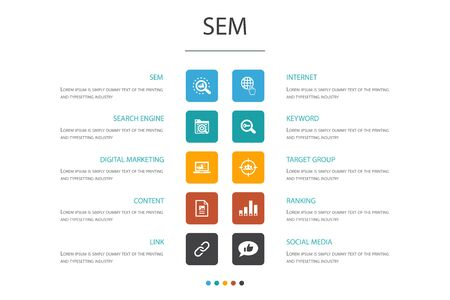 SEM Infographic 10 option concept.Search engine, Digital marketing, Content, Internet icons Illustration