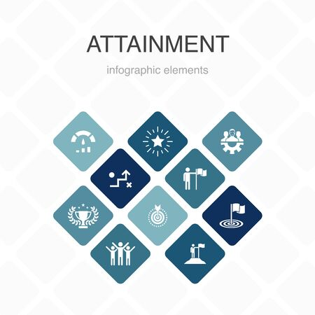 attainment Infographic 10 option color design.goal, leadership, objective, teamwork simple icons