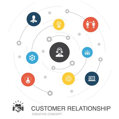 customer relationship colored circle concept with simple icons. Contains such elements as communication, service, CRM, care Ilustrace