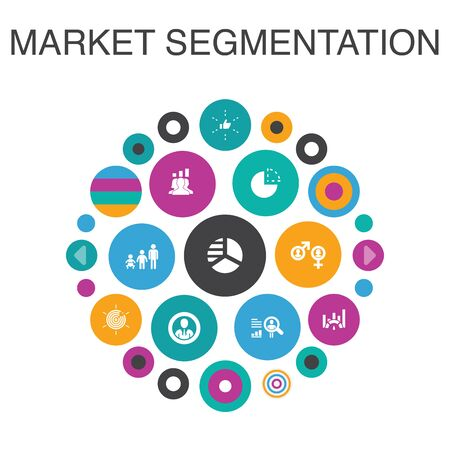 market segmentation Infographic circle concept. Smart UI elements demography, segment, Benchmarking 向量圖像