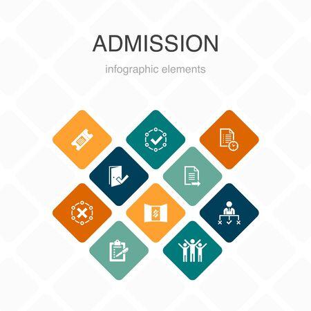 Infografía de admisión Diseño de color de 10 opciones. Boleto, aceptado, Inscripción abierta, Iconos simples de la aplicación Ilustración de vector