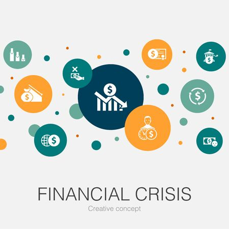 financial crisis trendy circle template with simple icons. Contains such elements as budget deficit, Bad loans, Government debt