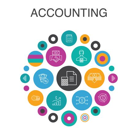 Accounting Infographic circle concept. Smart UI elements Asset, Annual report, Net Income, Accountant simple icons Stok Fotoğraf - 133750227