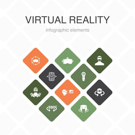 virtual reality Infographic 10 option color design.VR helmet, Augmented reality, 360 view, VR controller simple icons