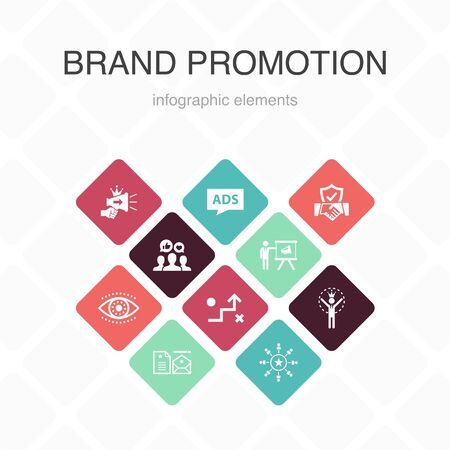 brand promotion Infographic 10 option color design.strategy, marketing, personal brand, advertising simple icons