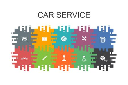 Car service cartoon template with flat elements. Contains such icons as disk brake, suspension, spare parts, Transmission