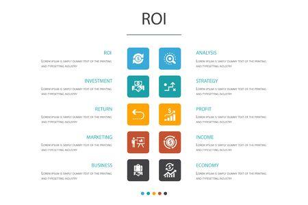 ROI Infographic 10 option concept. investment, return, marketing, analysis icons