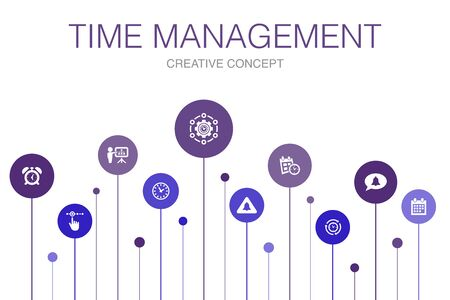 Time Management Infographic 10 steps template. efficiency, reminder, calendar, planning icons
