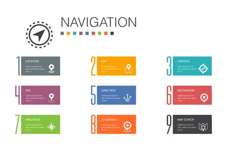 Navigation Infographic 10 option line concept.location, map, gps, direction simple icons