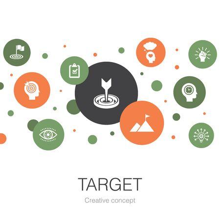 plantilla de círculo de moda de destino con iconos simples. Contiene elementos tales como gran idea, tarea, objetivo.