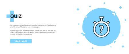quiz icon, banner outline template concept. quiz line illustration