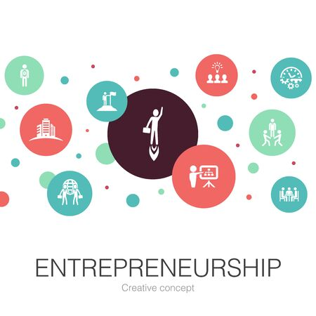 Entrepreneurship trendy circle template with simple icons. Contains such elements as Investor, Partnership, Leadership, building Ilustracja
