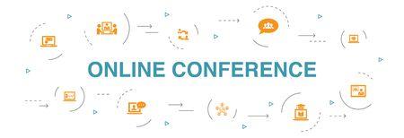 conférence en ligne infographie conception de cercle de 10 étapes. chat de groupe, apprentissage en ligne, webinaire, icônes de conférence téléphonique