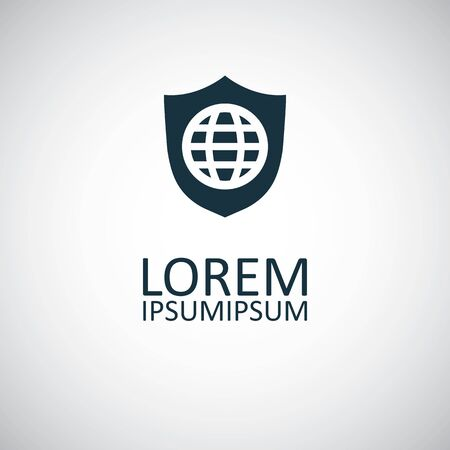 globe shield icon for web and UI on white background Ilustração Vetorial