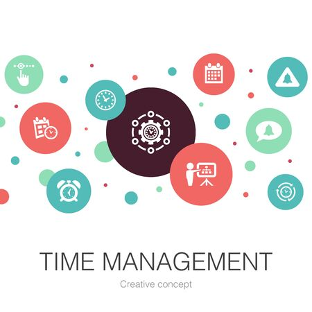 Time Management trendy circle template with simple icons. Contains such elements as efficiency, reminder, calendar