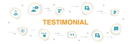 testimonial Infographic 10 steps circle design.feedback, recommendation, review, comment icons