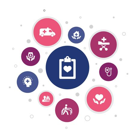 Medical services Infographic 10 steps bubble design.Emergency, Preventive care, patient Transportation, Prenatal care icons