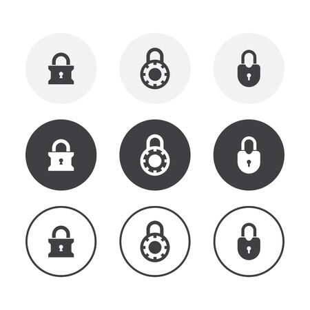 Set of 3 simple design lock icons. Rounded background lock symbol