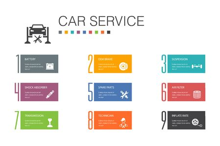 Car service Infographic 10 option line concept.disk brake, suspension, spare parts, Transmission simple icons