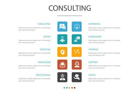 Concepto de opción de infografía de consultoría 10. Experto, conocimiento, experiencia, iconos de consultor