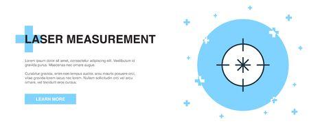 Laser measurement icon, banner outline template concept. Laser measurement line illustration