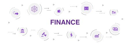 Finance Infographic 10 steps circle design. Bank, Money, Graph, Exchange icons