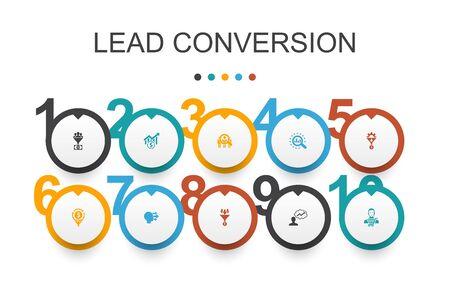 conversione dei lead Modello di progettazione infografica.vendite, analisi, prospettiva, icone dei clienti